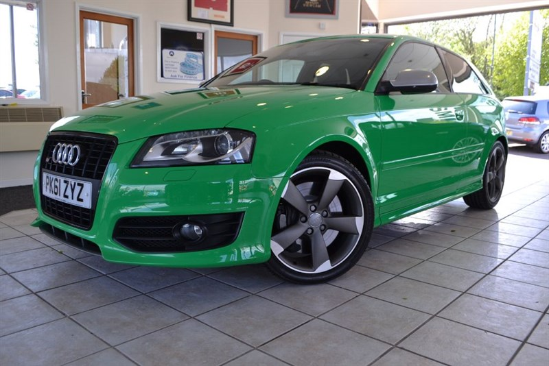 used Audi S3 TFSI QUATTRO S LINE BLACK EDITION SPECIAL ORDER IN PORSCHE SIGNAL GREEN in forest-of-dean-gloucestershire