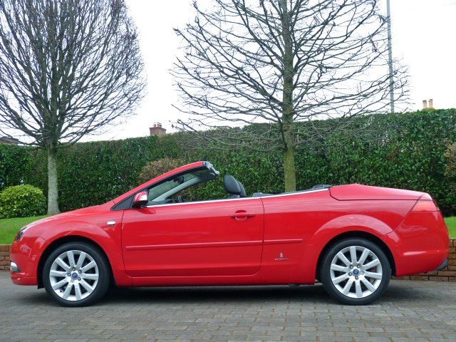used flame red ford focus cc for sale dorset. Black Bedroom Furniture Sets. Home Design Ideas