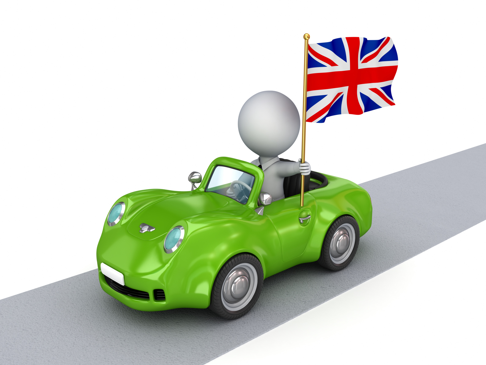 A cartoon image of a used car in west midlands flying a flag