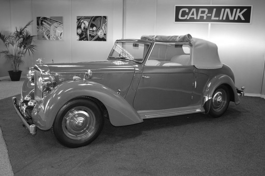 black and white image of Alvis classic car for sale in bournemouth
