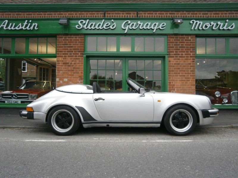 Used Porsche 911 Speedster in front of Slade's Garage