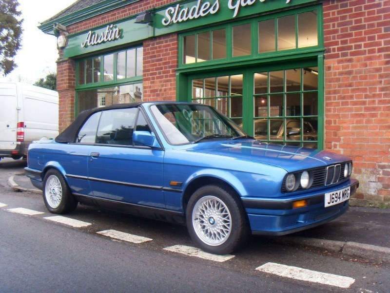 Classic sports cars like this blue BMW 318i Sport Convertible are now available at Slades Garage in Penn, Buckinghmashire