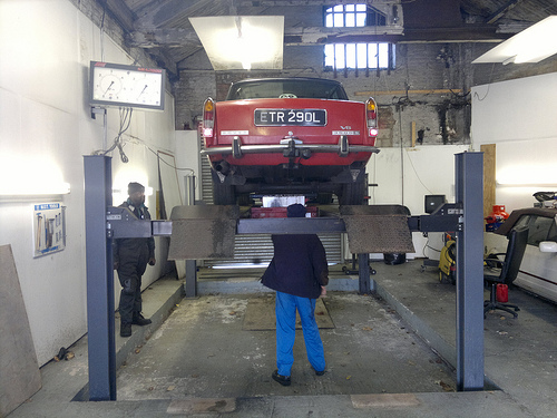 Car having it's annual MOT service