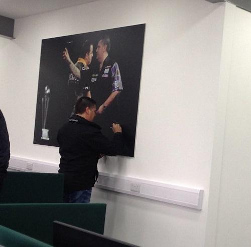 Gary signs Rix picture in Warrington last week