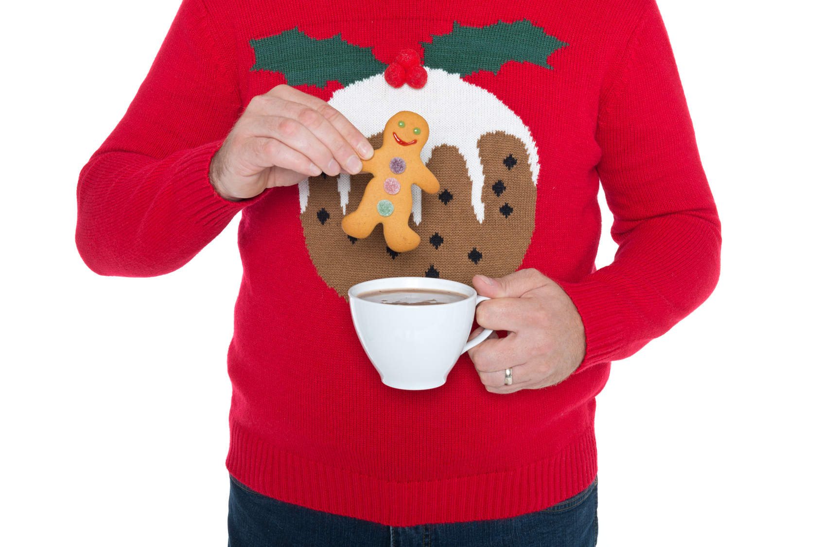 Christmas jumper with a Christmas pud on it
