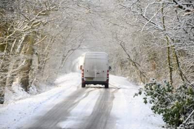 Used van driving in snow