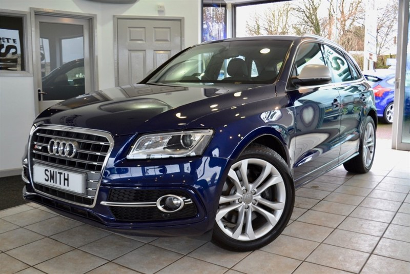 used Audi Q5 SQ5 3.0 TDI QUATTRO FULL AUDI SERVICE HISTORY TECHNOLOGY PACK SPECIAL ORDER ESTORIL BLUE 2013/63 in forest-of-dean-gloucestershire