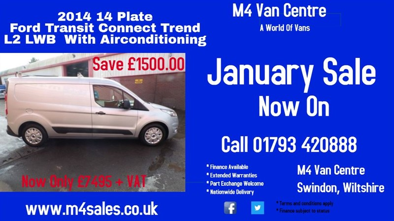 used Ford Transit Connect 210 TREND LWB 95PS A/C in wiltshire