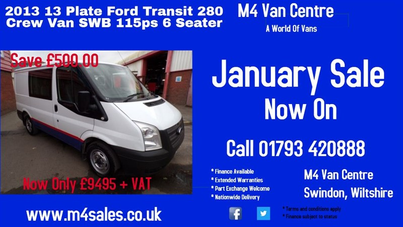 used Ford Transit 280 LR DCB CREW VAN 100PS in wiltshire