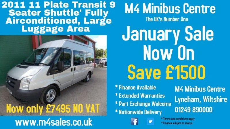used Ford Transit 140ps,9 seat shuttle minibus. F/r a/con. in wiltshire
