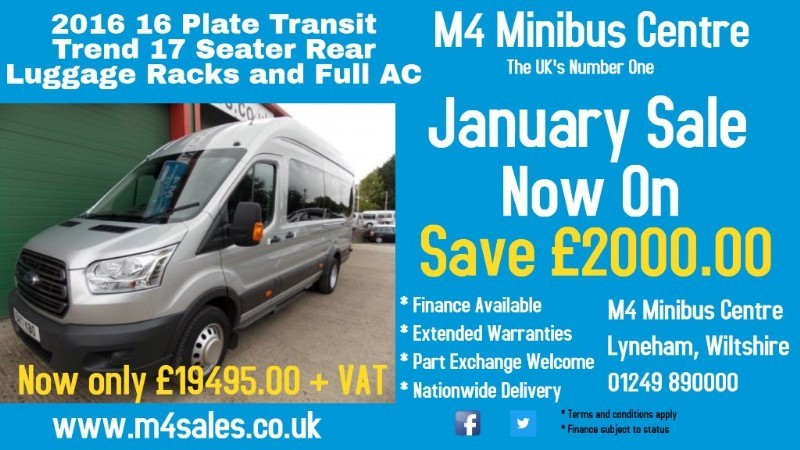 used Ford Transit 125ps,17 seat trend model minibus,full a/c,tacho in wiltshire