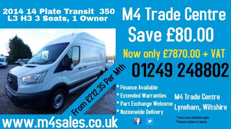 used Ford Transit 350 L3 H3 LWB 125PS in wiltshire