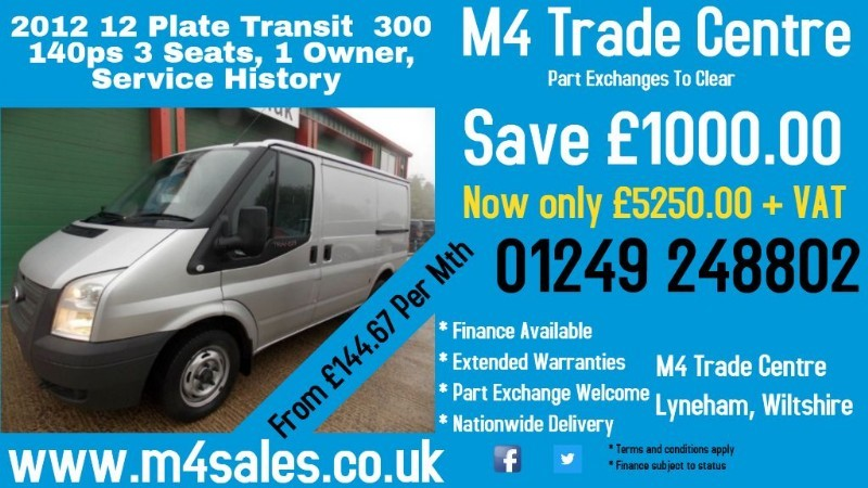 used Ford Transit 300 SWB LR 140PS in wiltshire