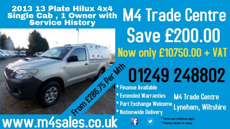used Toyota Hilux HL2 4X4 D-4D Single Cab in wiltshire