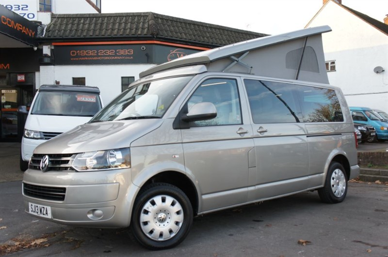 used VW Transporter T5 LWB 2 X RIB BEDS,REAR LIFTER ROOF,REAR CONVERSION,CLIMATE,30K MILES in new-haw-surrey