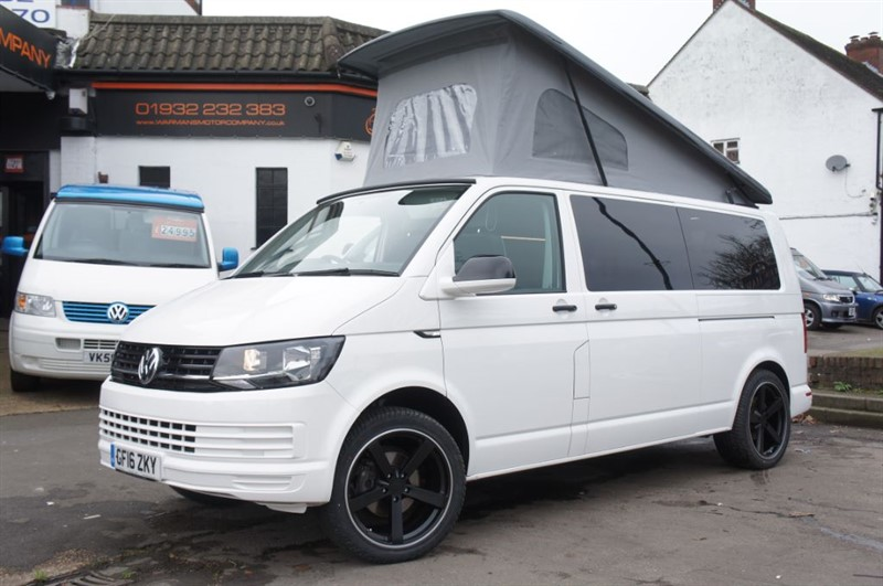 used VW Transporter 4 BERTH CAMPERVAN NEW CONVERSION LWB TAILGATE AIRCON T28 TDI MANUAL in new-haw-surrey