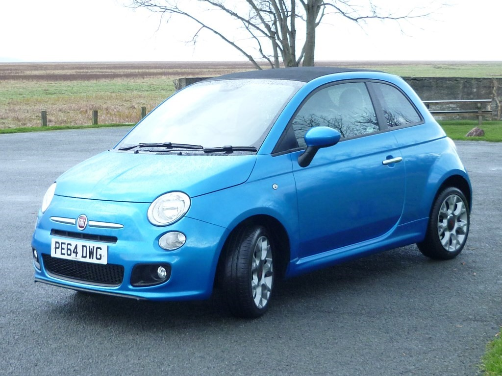 used electric blue metallic fiat 500c for sale cheshire. Black Bedroom Furniture Sets. Home Design Ideas