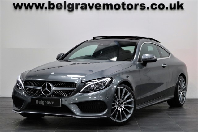 used Mercedes C220 C220D AMG LINE PREMIUM PLUS AUTO PAN ROOF BURMESTER SOUND COMAND 2DR 67+MPG in sheffield
