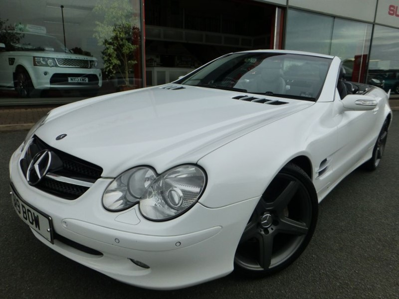 """used Mercedes SL SL500+ WRAPPED IN WHITE + 20"""" AMG ALLOYS + FSH + PAN-ROOF + S/S EXHAUST SYS in chester"""