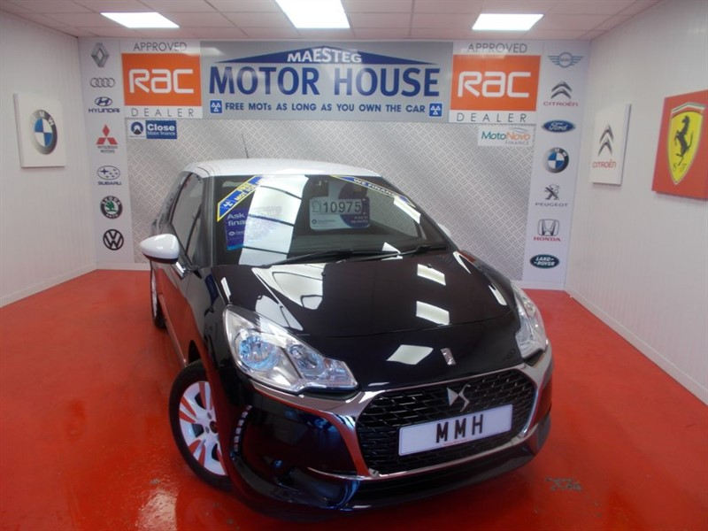 used DS DS 3 PURETECH CHIC(£20.00 ROAD TAX) FREE MOT'S AS LONG AS YOU OWN THE CAR!!! in glamorgan
