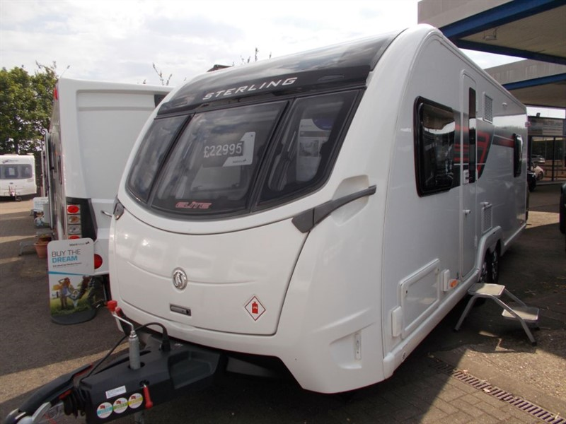 used Sterling Elite  650 4 berth Fixed Island bed Twin axle with mover in sandy-bedfordshire