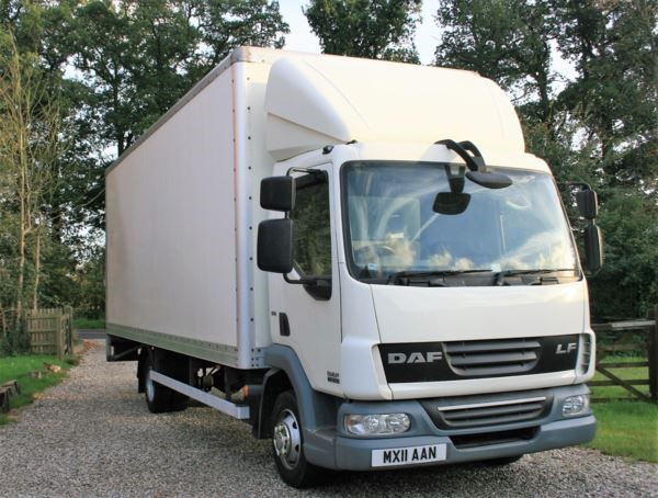 used DAF  LF FA 45.160 BOX 7.5t 22f euro 5 with 1000kg taillift MANUA in chelmsford-essex