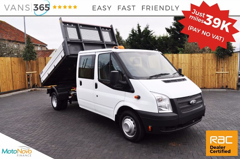 used Ford Transit *NO VAT* ONLY 39K MILES 125 BHP FACTORY ALLOY ONE STOP D/C TIPPER 350 DRW in bristol