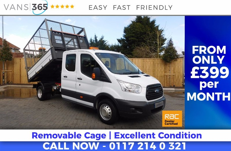 used Ford Transit 29K MILES CAGED ONE STOP D/C ALLOY TIPPER 125BHP 6 SPEED FULL SERVICE PRINT in bristol