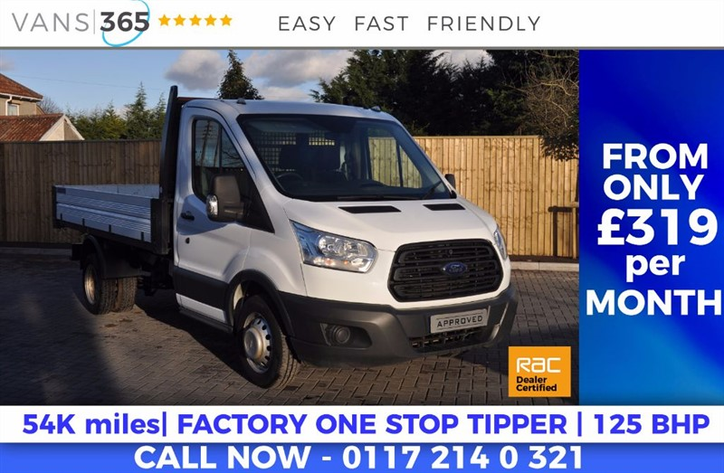 used Ford Transit ONLY 54K MILES FACTORY ONE STOP ALLOY TIPPER 125 BHP 350 C/C DRW in bristol